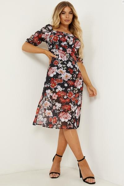 Petite Black Floral Split Midi Dress